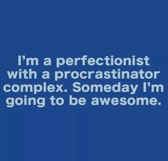I'm a perfectionist with a procrastinator complex. Someday I'm going to be awesome.