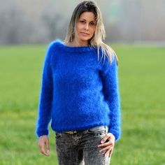Blue Hand Knitted Mohair Sweater FUZZY crew neck Pullover EXTRAVAGANTZA Size M #Extravagantza #Crewneck