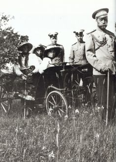 Marie, Anastasia, and Olga on an outing with Nicholas in the Crimea, 1914.