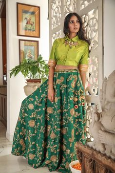 Dark green gold embroidered lehenga skirt and top. WhatsApp us for Purchase & Inquiry : Buy Best Designer Collection from by Party Wear Indian Dresses, Designer Party Wear Dresses, Indian Gowns Dresses, Dress Indian Style, Indian Fashion Dresses, Indian Designer Outfits, Indian Designers, Indian Skirt, India Fashion