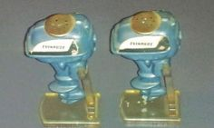 Vintage & Rare 1956 Evinrude Outboard Motor Salt & Pepper Shaker Set with Stands