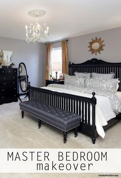 Master Bedroom Makeover.  I would have used a pewter finished mirror above bed or hung several small landscape pics. Would have used subtly striped curtains and added some pillow  covers with pizazz.