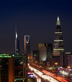 Riyadh Capital of Saudi Arabia by nighttime Riyadh Saudi Arabia, Riad, Night City, United Arab Emirates, Best Hotels, Empire State Building, San Francisco Skyline, The Good Place, Places To Visit