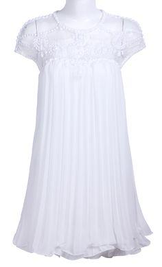 #sheinside White Short Sleeve Lace Pleated Chiffon Dress - Sheinside.com