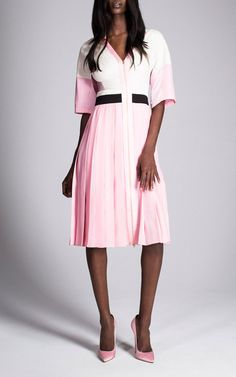 Pink Matte Crepe Satin Dress by Fausto Puglisi for Preorder on Moda Operandi