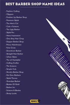Generate some of the finest barber shop name ideas with the barber shop name generator. Get tips and techniques of naming a business name. Also take some inspiration from popular barber shops with creative names. Barber Shop Names, Barber Store, Best Barber Shop, Shop Name Ideas, Hair Salon Names, Old Fashioned Drink, Vintage House Plans, Creative Names, Name Generator