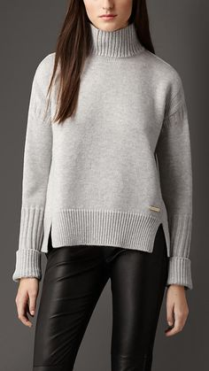 burberry Pale grey melange Funnel Neck Wool Cashmere Sweater - Image 1