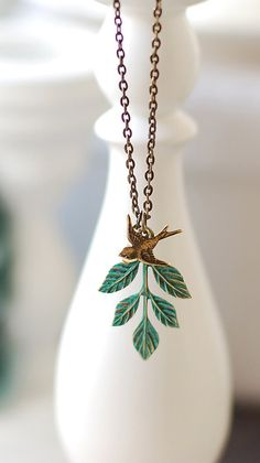 Swallow Bird Leaf Necklace. Verdigris Patina Teal Blue Leaf Branch Antiqued Brass Swallow Bird Necklace. Woodland Vintage Nature Inspired etsy $25