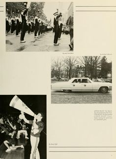 Athena Yearbook, 1987. The Marching 110 perform, students put Bobcat prints on their car, and the cheerleaders show off their spirit at a basketball game. :: Ohio University.