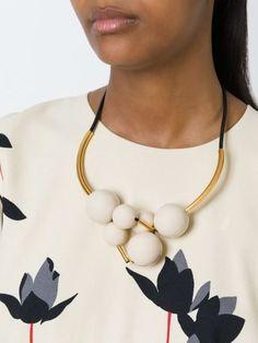 Marni sphere cluster necklace in leather, brass and resin Wedding Jewellery Inspiration, Wedding Jewelry, Ceramic Jewelry, Polymer Clay Jewelry, Statement Jewelry, Jewelry Necklaces, Jewelry Crafts, Handmade Jewelry, Leather Necklace