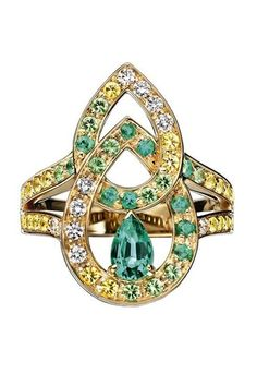 Cinna Pampilles ring in yellow gold set with a pear-shaped emerald and enhanced with emeralds, yellow sapphires, diamonds and tsavorites, Boucheron