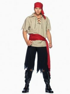 Wholesale Men's Role-playing Halloween Pirate Costumes Top+Bottow+Belt+Headdress One Color Beige  -$22.50