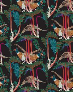 Pheasants & Rhubarbs Wallpaper by Klaus Haapaniemi