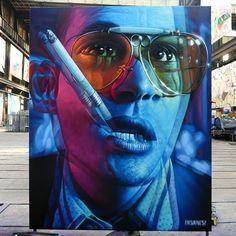 Fear and Loathing in Amsterdam city. Done for the street art museum Spraypaint on canvas 3 x 2.5 m. Up next is Thessaloniki Street Art festival!! #insane51 #saketattoocrew #fearandloathing #badtrip #streetarttoday
