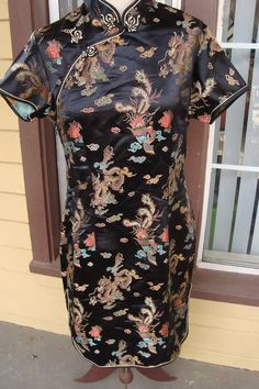 c8a3ffead9 This item is unavailable. Vintage 80s Chinese Satin Embroidered Dress ...