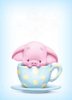 Piggy in a teacup This Little Piggy, Little Pigs, Cute Images, Cute Pictures, Animal Drawings, Cute Drawings, Baby Animals, Cute Animals, Pig Illustration