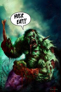 "Zombie Hulk marvel nightmare  ""Banners been bit, Banners been bit! Run for your lives"""