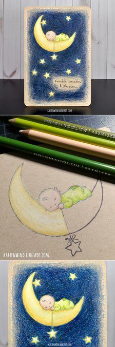 Kartenwind: Babykarte Stampin Up Moon Baby auf Kraft Papier koloriert mit Prismacolor Stiften