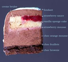 Entremet: Fondant, Strawberry Sauce, Creme Brulee, Vanilla Sponge Cake, Strawberry Mousse, Chocolate Orange Mouse, Chocolate Feuillete, Chocolate Brownie