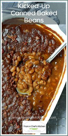 Kicked-Up Canned Baked Beans is an easy and delicious way to make ordinary canned baked beans taste as though you made them from scratch! #beans #bakedbeans #sidedishes #beansidedishes Kitchen Recipes, Gourmet Recipes, Vegetarian Recipes, Cooking Recipes, Oven Cooking, Casserole Dishes, Casserole Recipes, Canned Baked Beans, Baked Bean Recipes