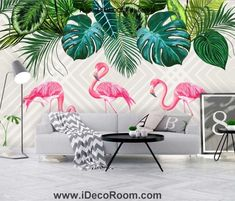 Nordic simple rainforest banana leaf flamingo wallpaper wall murals ID – IDecoRoom Palm Leaf Wallpaper, Flamingo Wallpaper, Tropical Wallpaper, Wall Wallpaper, Kids Room Murals, Kids Room Paint, Wall Murals, Cafe Interior Vintage, Tropical Wall Decals
