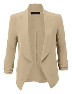 LE3NO Womens Lightweight Ruched 3/4 Sleeve Open Front Blazer Jacket. $18.99. 97% Polyester/3% Spandex. Front Length: 25 in, Back Length 21 in, Bust: 32 in, Sleeve: 20 in.
