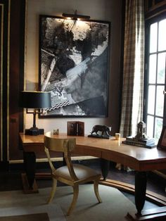 Jean Louis Denoit does home office in a fantastically French way using a curved desk to take advantage of a room with a view. Lighting the spectacular painting will not only bring the eye to the painting, but will also provide additional ambient lighting. Home Office Design, Home Office Decor, House Design, Home Decor, Design Design, Design Trends, Workspace Design, Office Ideas, Design Ideas