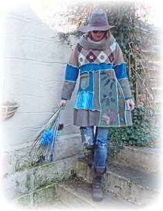 Gerecycled jurk Jumper tuniek Hoodie schattig Argyle heidense rustieke Folk gezellige wol Cashmere stoffen Upcycled Eco kleding Wearable Art kleine Medium