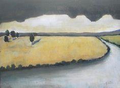 River on the West Original landscape painting by VESNAsART