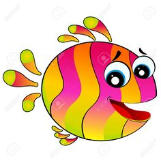 little colorful tropical fish (fish, cartoon, funny)