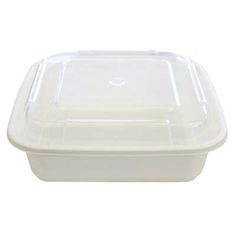 36 oz Microwaveable White Square Container Lid Combo 150 CT