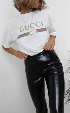 gucci tee + latex pants #ootd