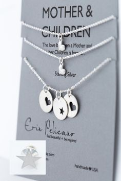 Mother Children Necklace Set. Mother Sons gift. Daughters. Inspirational Jewelry. Simple Delicate Sterling Silver by erinpelicano on Etsy