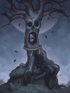 ' Tree Spirit - Kodama ' by Paolo Pedroni Dark Fantasy, Fantasy Art, Arte Lowbrow, Macabre Art, Gothic Art, Horror Art, Surreal Art, Dark Art, Art Blog