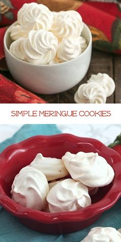 Simple Meringue Cookies - Recipe & Tips for Perfect Meringues! Incredibly light, ethereal cookies made from whipped egg whites and sugar, these simple meringue cookies will melt in your mouth and tantalize your sweet tooth! Easy Meringue Recipe, Baked Meringue, Meringue Recept, Lemon Meringue Cookies, Baking Recipes, Cookie Recipes, Dessert Recipes, Cookie Tips, Cupcake Recipes