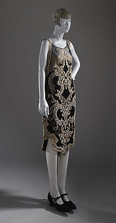 Callot Soeurs, Flapper-Style Evening Dress of Faux Pearl Embroidery on Silk Satin & Chiffon. Paris, ca 1926. So Modern!