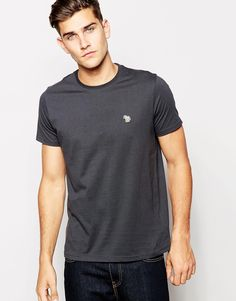 """T-shirt by Paul Smith Jeans Soft-touch jersey Crew neck Signature embroidered zebra logo Regular fit - true to size Machine wash 100% Cotton Our model wears a size Medium and is 188cm/6'2"""" tall"""