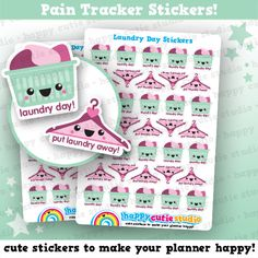 One sheet of cute 35 little laundry day stickers, perfect for your planner! You will receive 20 laundry baskets, and 15 coat hangers!  • Stickers measure approx. 0.65 x 0.65 inches • Sticker sheet measures 4 x 5.5 inches  Printed onto matte paper, each sticker is kiss-cut and ready to peel and stick straight into your planner!  You will receive your order in a board-backed envelope, and the stickers will be inside a waterproof sleeve.  Please note: colours may vary slightly upon printing…