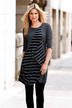 Women's Tops - Capture Stripe Tunic - EziBuy New Zealand