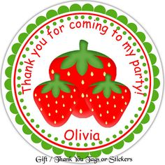 Strawberries Personalized Stickers & Favor Tags by Sharenmoments