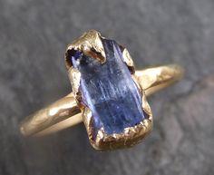 Raw Natural Tanzanite Crystal Gold Ring Rough Uncut Gemstone tanzanite recycled 14k stacking cocktail statement ring