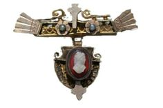ANTIQUE GOLD FILLED FILIGREE CARVED SARDONYX CAMEO PEARL HANGING BAR PIN BROOCH