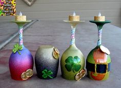 st patricks day wine glass candle holders