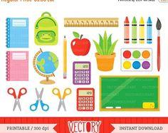 SALE 40%OFF 20 Back to School Clipart, School Clip Art, School Images for Teachers, School Supplies Clipart, Kids Clipart, School Clipart Se