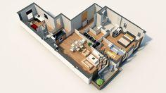 Axonométrie d'un lot de type T4 issu d'un programme immobilier neuf à Nanterre pour Bouygues Immobilier.