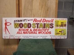 RARE Vintage Red Devil 2 Sided Painted-Stain Varnish Store Display Sign 42 x 14   eBay