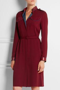 Gucci|Leather-trimmed silk-crepe dress|NET-A-PORTER.COM