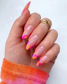 Nail Design Stiletto, Nail Design Glitter, Nails Design, Almond Acrylic Nails, Best Acrylic Nails, Painted Acrylic Nails, Almond Nails Pink, Almond Nails French, French Nails