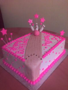 Pink Birthday Cake | Hot Pink Bowling Party Cake | Main Made Custom Cakes