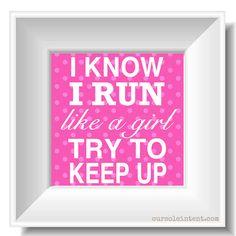 One Run - Inspirational 8x8 Art Print - run like a girl bright pink fuschia